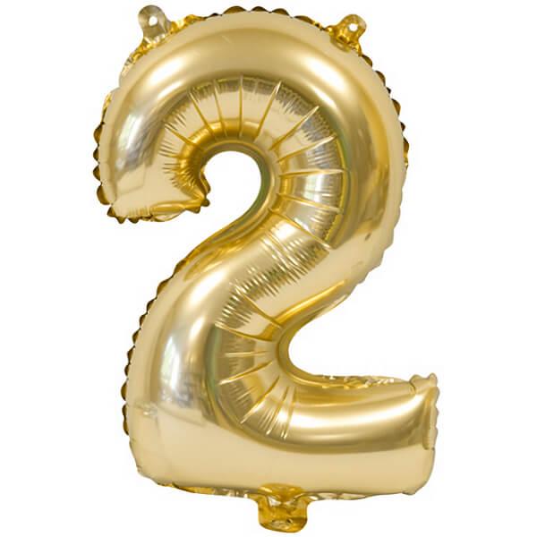 Ballon metallique anniversaire 2 ans or