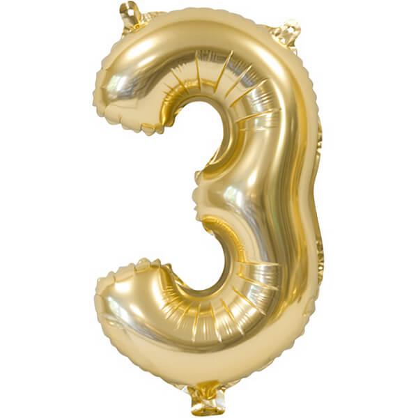 Ballon metallique anniversaire 3 ans or