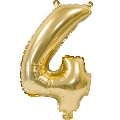 Ballon métallique anniversaire 4ans or 36cm (x1) REF/BA3000