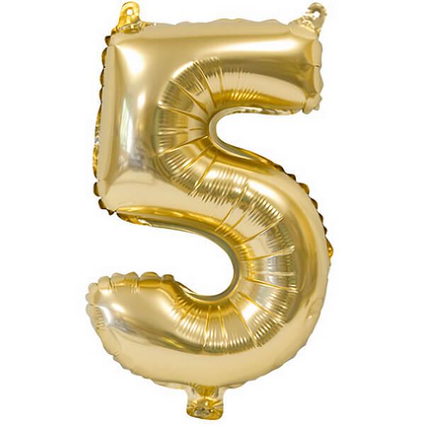 Ballon metallique anniversaire 5 ans or