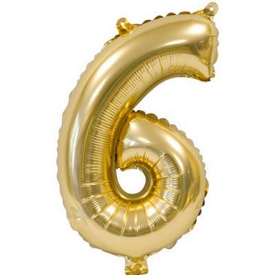 Ballon métallique anniversaire 6ans or 36cm (x1) REF/BA3000