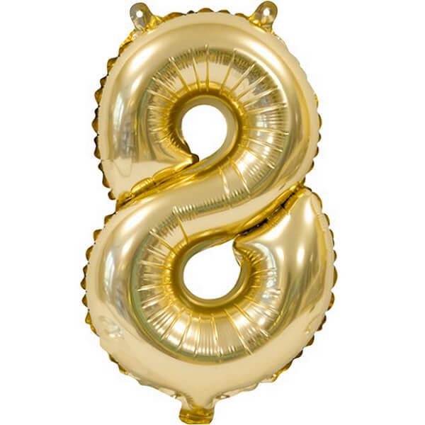 Ballon metallique anniversaire 8 ans or