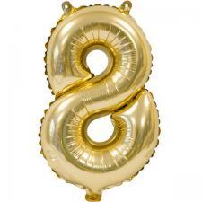 Ballon métallique anniversaire 8ans or 36cm (x1) REF/BA3000