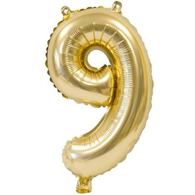 Ballon métallique anniversaire 9ans or 36cm (x1) REF/BA3000