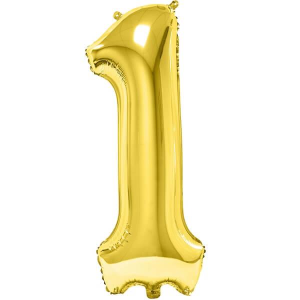Ballon metallique anniversaire geant or chiffre 1