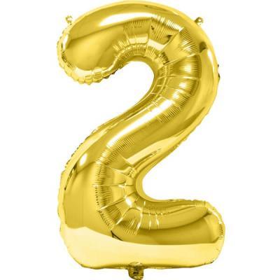 Ballon géant anniversaire or chiffre 2 (x1) REF/BA3012