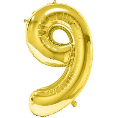 Ballon géant anniversaire or chiffre 9 (x1) REF/BA3012