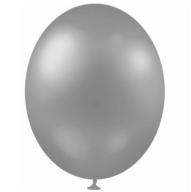 Ballon metallique argent en latex de 30cm