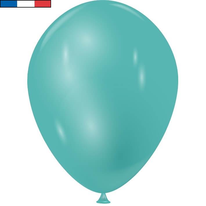 Ballon metallique bleu turquoise en latex de fabrication francaise