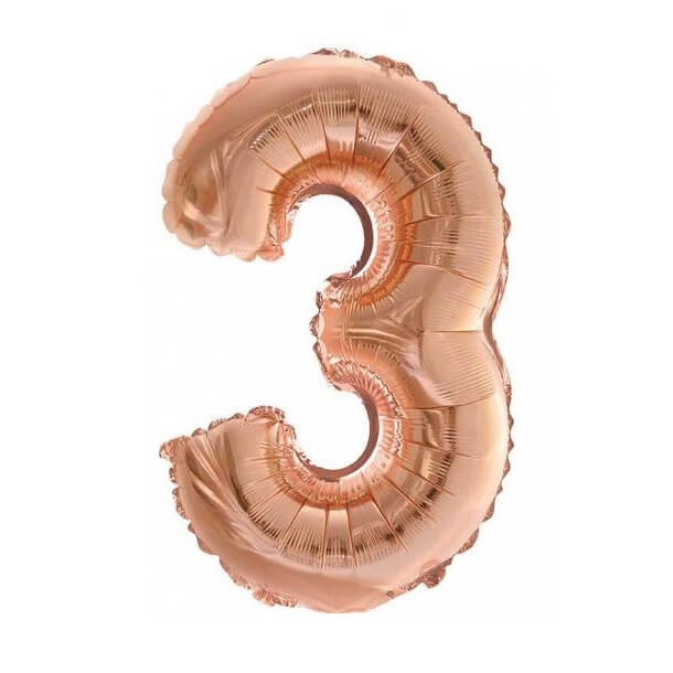 Ballon metallique cuivre chiffre 3 36cm