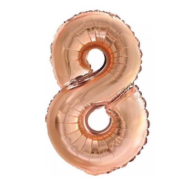 Ballon metallique cuivre chiffre 8 36cm