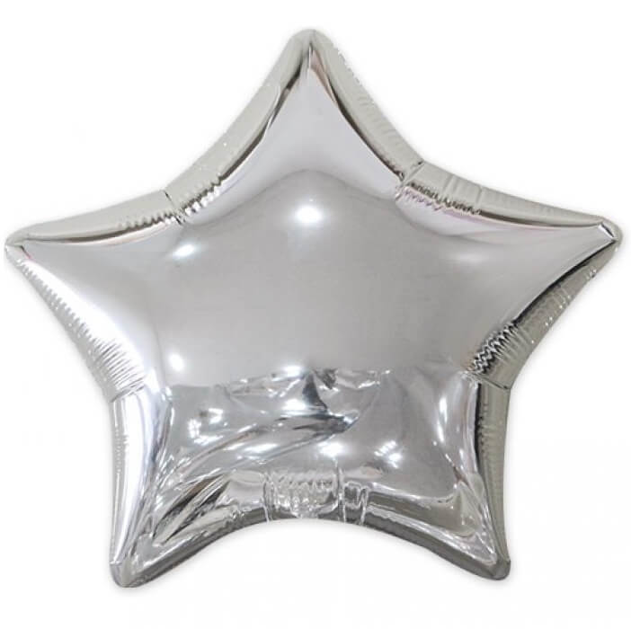 Ballon metallique etoile argent