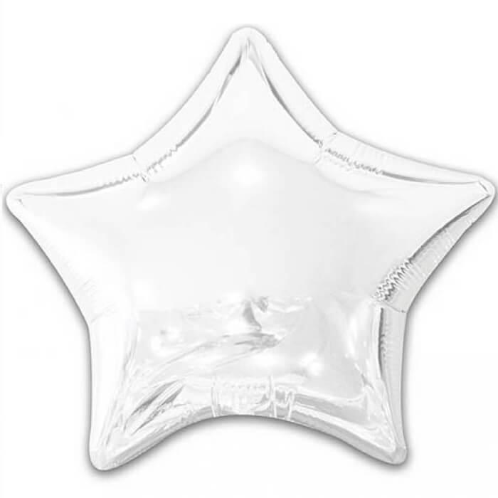 Ballon metallique etoile blanc