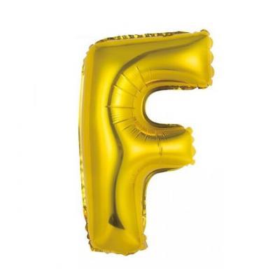 Ballon métallique or lettre F 36cm (x1) REF/BALMORLF