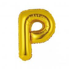 Ballon métallique or lettre P 36cm (x1) REF/BALMORLP