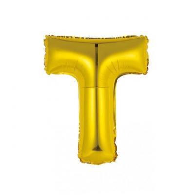 Ballon métallique or lettre T 36cm (x1) REF/BALMORLT