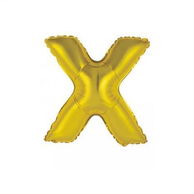 Ballon métallique or lettre X 36cm (x1) REF/BALMORLX