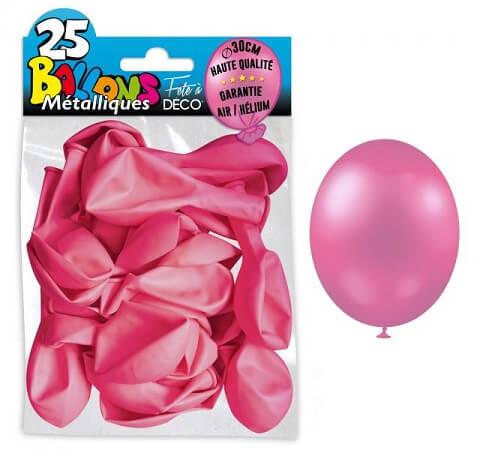 Ballon metallique rose bonbon