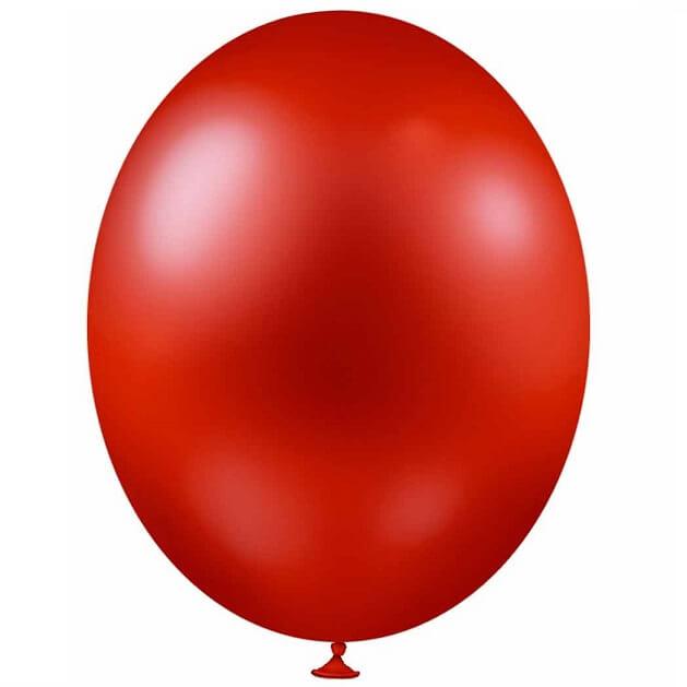 Ballon metallique rouge en latex de 30cm