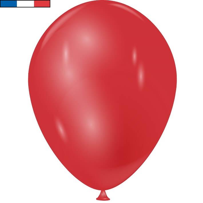 Ballon metallique rouge en latex de fabrication francaise