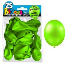 Ballon métallique vert pomme, 30cm (x25) REF/BALC12