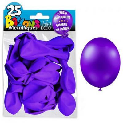 Ballon métallique violet foncé, 30cm (x25) REF/BALC18
