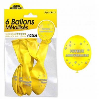 Ballon métallisé anniversaire jaune (x6) REF/BAL00J