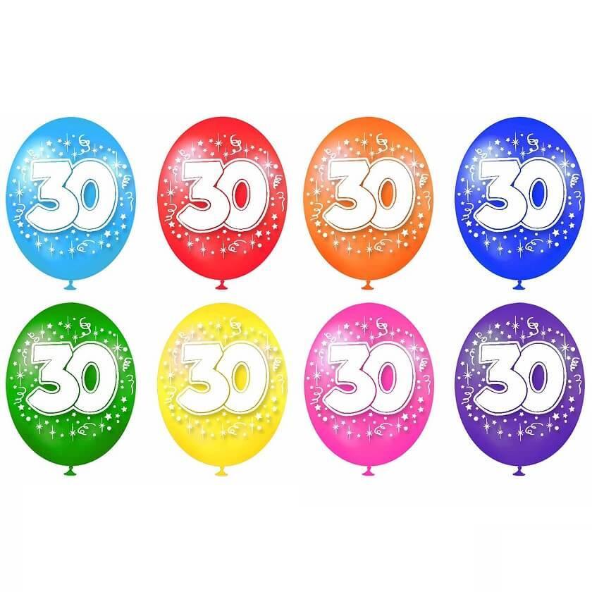 Ballon multicolore anniversaire en latex 30 ans