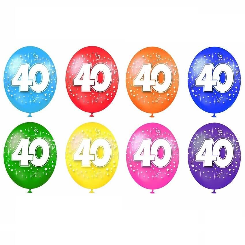 Ballon multicolore anniversaire en latex 40 ans