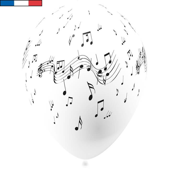 Ballon musique blanc en latex de fabrication francaise