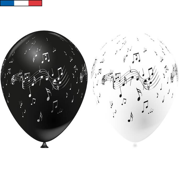 Ballon musique blanc et noir en latex de fabrication francaise