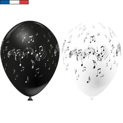 Ballon français musique blanc et noir en latex 30cm (x8) REF/0504