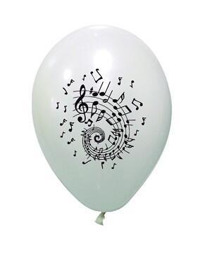 Ballon latex blanc avec musique note de musique noire (x8) REF/BAL231