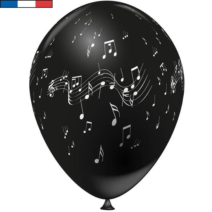 Ballon musique noir en latex de fabrication francaise