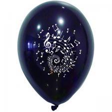 Ballon latex noir avec musique note de musique blanche (x8) REF/BAL231