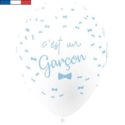 Ballon français baby shower garçon bleu 30cm (x8) REF/35582