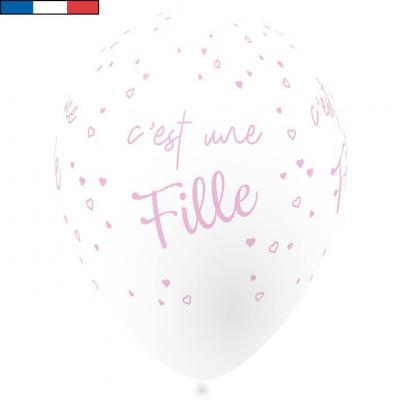 Ballon français baby shower fille rose 30cm (x8) REF/40982
