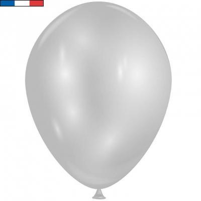 Ballon opaque diamant argent brillant avec effet Chrome 30cm (x8) REF/52459