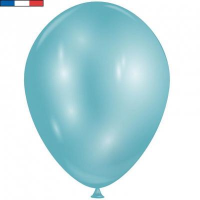 Ballon opaque bleu diamant Topaze avec effet Chrome 30cm (x8) REF/52404