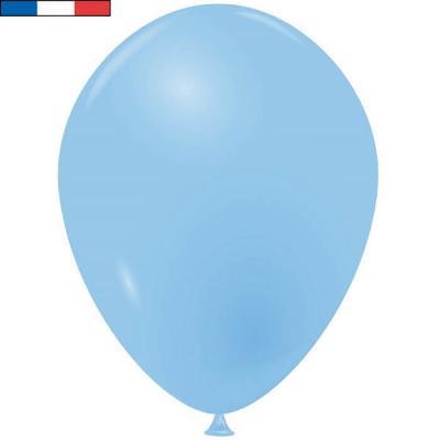 Ballon opaque français en latex bleu pâle 25cm (x10) REF/35886