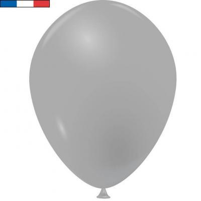Ballon opaque français en latex gris 25cm (x10) REF/40265