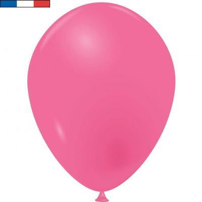 Ballon opaque français en latex rose bonbon 25cm (x10) REF/33526
