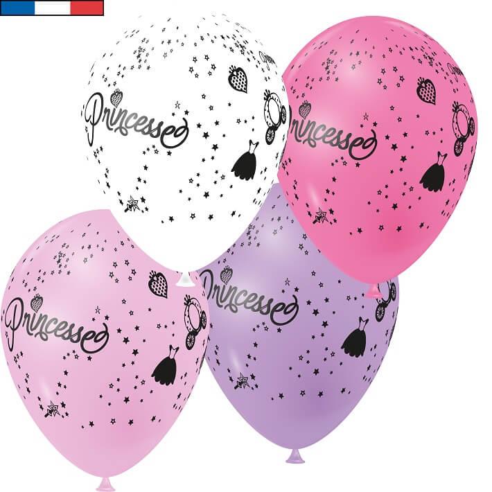 Ballon princesse multicolore en latex de fabrication francaise