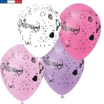 Ballon français princesse multicolore en latex 30cm (x8) REF/41491