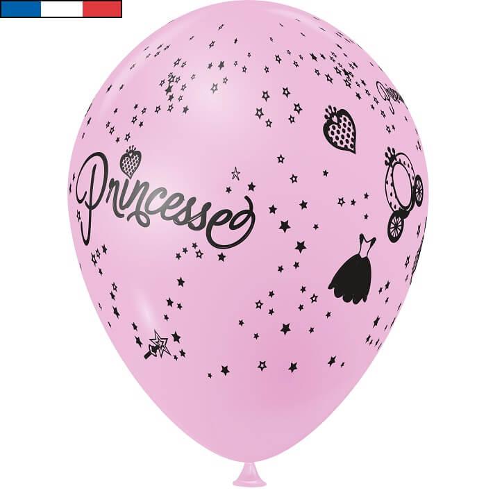 Ballon princesse rose en latex de fabrication francaise