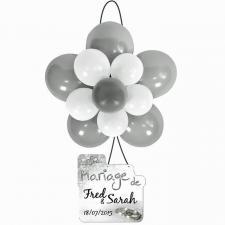Ballon rosace argent et blanc (x1) REF/BAL370