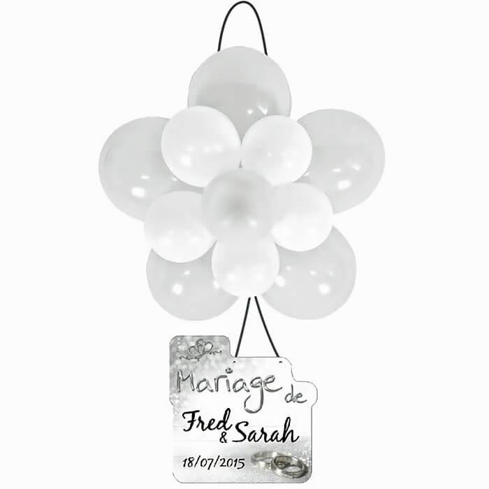 Ballon rosace mariage blanc