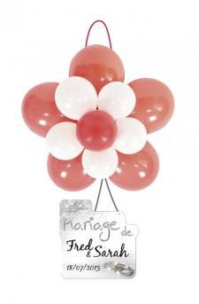 Ballon rosace rouge et blanc (x1) REF/BAL370