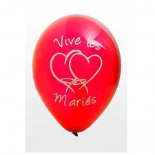 Ballon mariage vive les mariés rouge (x8) REF/BAL225