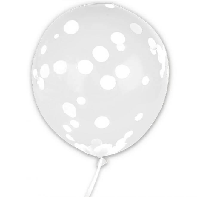 Ballon transparent avec confettis blanc en latex